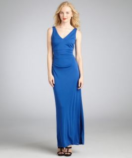 Nicole Miller cobalt stretch jersey high slit v neckline evening dress