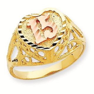 14K Gold Two Tone 15 Quinceanera Heart Ring