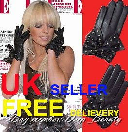 LADY GAGA BOWKNOT Stud GLOVES Pure Leather Black