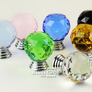 New Crystal 30mm 1.18 Round Glass Handle Cabinet Drawer Door Knob