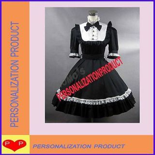 Renaissance Gothic Lolita cute Black Ball Gown Knee Length Cosplay