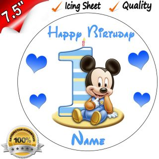 1st FIRST BIRTHDAY BOYS BABY MINNIE Edible Icing Cake Topper 7.5