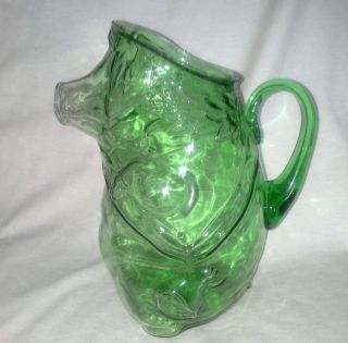 Rare green depression glass pig pitcher attached handle large help