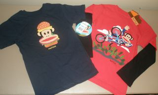 Paul Frank Julius Monkey Blue Hamburger Red Bike Rider T Shirt LOT