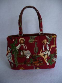 Isabella Fiore Red Western Cowgirl Horse Saddle Satchel Handbag Purse