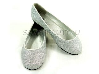 NEW FASHION JUNIOR GIRLS CUTE GLITTER SPARKLE BALLET COMFY FLAT SHOES