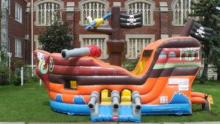 New Commercial Inflatable Pirate Bounce House Combo Moonwalk Slide