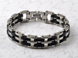 New High Quality Rubber Mens Stainless Steel Chain Bracelet Silver