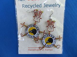 ELEPHANT DESIGN African Ethnic Jewelry TUSKER BEER CAP EARRINGS KENYA