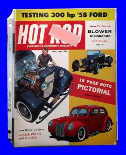 HOT ROD APRIL 1958,ARDUN/FORD V8,ROTO PICTORIAL,DRAGSTER RECORD,HOTROD