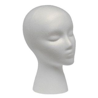 STYROFOAM FOAM MANNEQUIN WIG HEAD DISPLAY HAT CAP WIG HOLDER WHITE