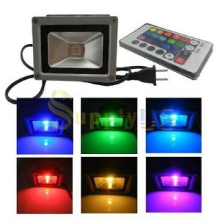 Remote Control 10W RGB LED Outdoor Floodlight Flood Light Lamp 900LM