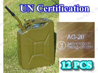 12 Pcs Nato Style Portable Jerry Can 20 Liter Gas Fuel Diesel Tank w