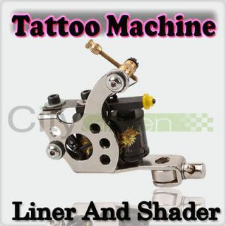 New Handmade Tattoo Machine Liner Shader Gun Silver Custom