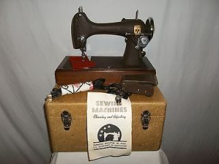 Montgomery Ward Heavy Material Sewing Machine Model R and Accesories