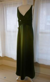 Chiffon Formal Rich Green Gown Dress Size 12 Holiday NYE CHEAP