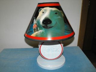 COCA COLA BOTTLE CAP LAMP, WITH POLAR BEAR SHADE, COOL LAMP