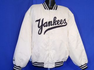 new york yankees ny majestic white satin jacket xxl one