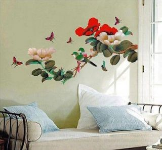 JAPANESE FLOWER TREE BIRDS Butterflies WALL DECO MURAL STICKER DECALS