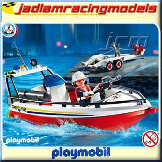 PLAYMOBIL Rescue Fire Boat with Trailer   Fire Rescue 4823