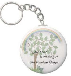 Pet loss sympathy keychain Waiting for You at Rainbow Bridge dog cat