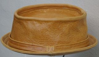 pork pie hat leather whisky handmade to order xs s