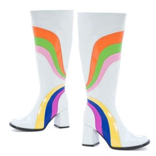 300 jiggy psychedelic funky white knee boots heels pump more