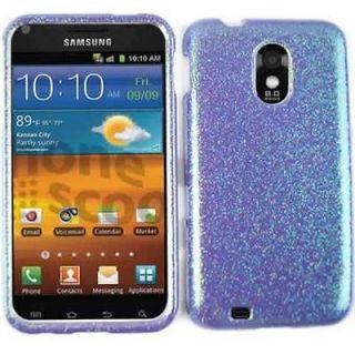 For Sprint Samsung Galaxy S 2 II S2 Hard Cover Purple Glitter Rainbow