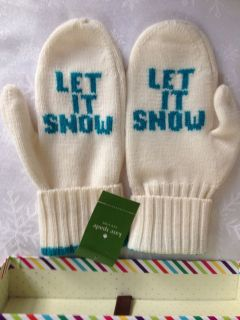 KATE SPADE WHITE TURQUOISE WOOL MITTENS LET IT SNOW IN GIFT BOX NWTS