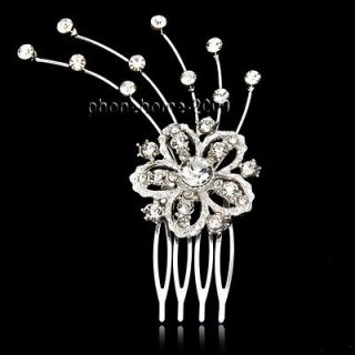 Plate Wedding Bridal Flower Crystal Rhinestone Hair Comb Pin HA12