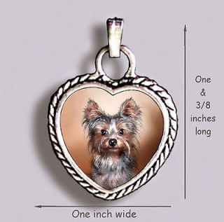 YORKSHIRE TERRIER Puppy DOG YORKIE   Ornate HEART PENDANT Tibetan