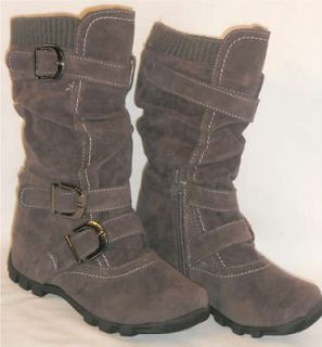 CuteGirls Kids Tall 3 Buckle Suede Flat Boots*Warm Knit Top GRAY