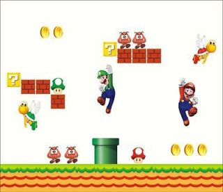 NEW Super Mario Bros Scene Wall Sticker Big Removable Room Decor US