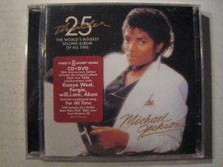 BRAND NEW MICHAEL JACKSON THRILLER CD&DVD SEALED 25th ANNIVERSARY