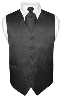 Mens Black Paisley Design Dress Vest NeckTie Set size XLarge