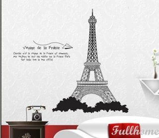 paris city eiffel tower wall room decor decals removable vinyl