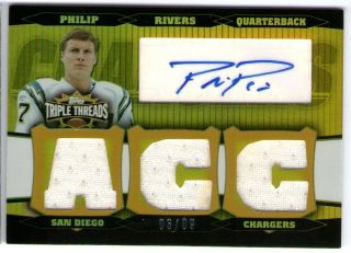 PHILIP RIVERS 06 TOPPS TRIPLE THREADS GOLD AUTO JERSEY CARD #3/9