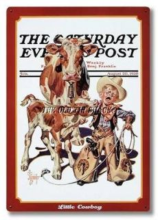 Nostalgic Tin Metal Sign   Aug. 1938 Saturday Evening Post Little
