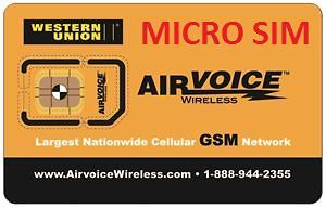 airvoice wireless micro sim card brand new never activated time