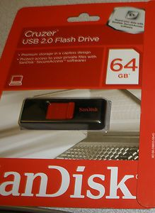 New SanDisk Cruzer 64GB USB 2 0 Flash Drive