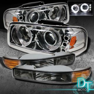 00 06 GMC Yukon 99 06 Sierra Twin Halo Projector Head Lights Bumper