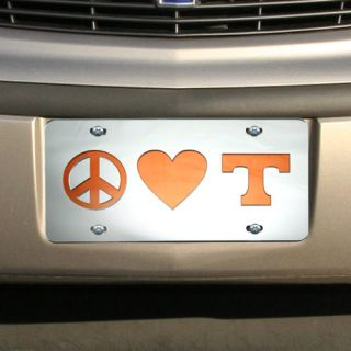Tennessee Volunteers Peace Love Mirrored License Plate
