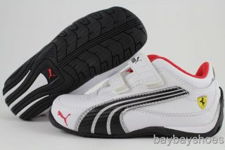 Puma Drift Cat 4 SF White Black Silver Red Velcro Strap Ferrari Baby