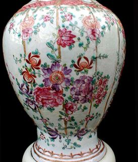 Exquisite Antique Chinese Export Porcelain Chintz Table Lamp
