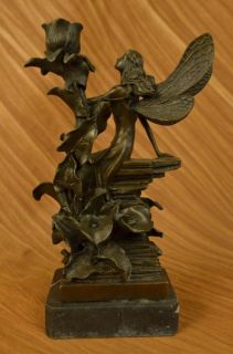 Original Aldo Vitaleh Fairy Angel Bronze Marble Statue Sculpture Art