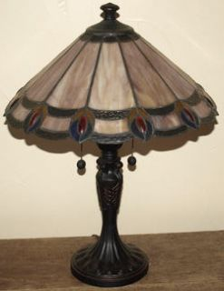 New Table Lamp Dale Tiffany Aldridge Peacock Stained Glass