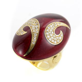Alessandro Fanfani 18K Yellow Gold Red Enamel Diamond Shield Ring