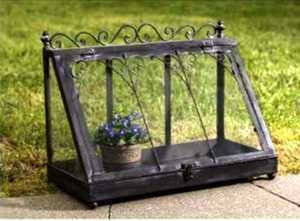 Shabby Vintage Chic Iron Glass Terrarium Style Display Case