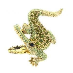 Swarovski Crystals Alligator Crocodile Brooch Broach Pin 2 6