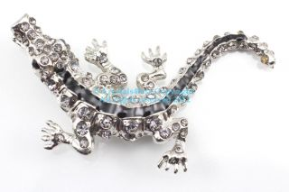 Smokey Austrian Rhinestone Crystal Alligator Brooch Pin